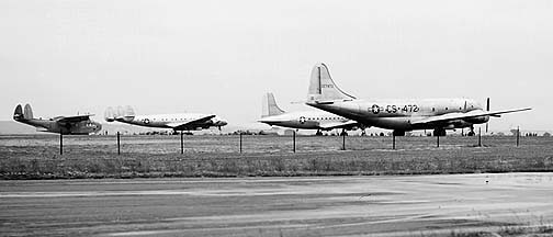 Martin XPBM-5A Mariner BuNo 59349, Boeing XC-97 Stratofreighter 43-27472, Lockheed C-69 Constellation 43-10309, and Douglas C-54D-DC Cargomaster 42-72754, GEARL, June 22, 1946