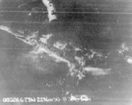 Aerial view of the smoldering wreckage of B-36B, 44-92035