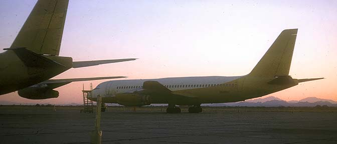 Former Northeast Airlines Convair 880 in storage at Marana, Arizona on January 16, 1971