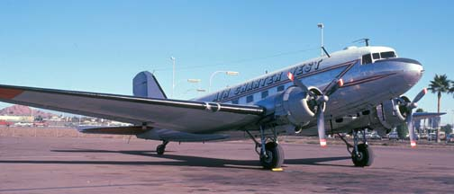 Air Charter West DC-3, Phoenix Sky Harbor Airport, December 7, 1974