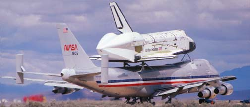 Columbia departs Edwards AFB, March 20, 1979
