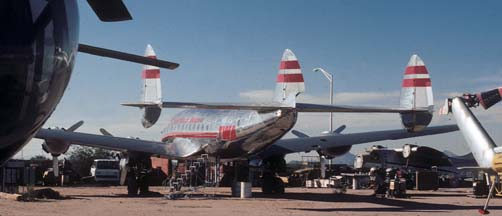 C-69, 42-94549 restored in the colors of a TWA L-049 at the Pima Air Museum on December 18, 1979