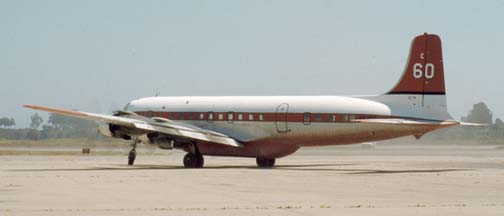 Douglas DC-7B, N838D Tanker e60 at the Goleta Tanker Station on July 30, 1980