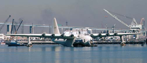 Howard Hughes' Flying Boat floating in Los Angeles Harbor
