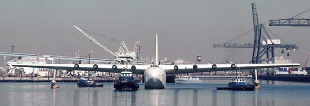 Howard Hughes' Flying Boat at Long Beach harbor