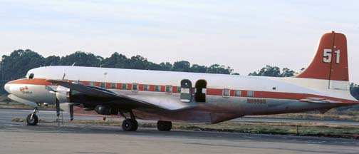 Douglas DC-7B, N999SQ Tanker 51 at the Goleta Tanker Station in December 1980