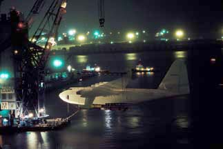 Hughes Flying Boat move to Pier J in February 1982