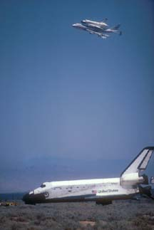 Columbia lafter landing with 747-SCA carrying Challenger at Edwards AFB on July 4, 1982