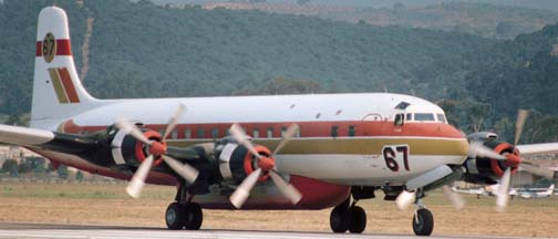 Douglas DC-7B Tanker 67 at the Santa Barbara Airport on July 10, 1983