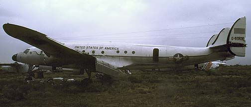 Lockheed C-121A Constellation 48-0610 Columbine II in a storage yard adjacent to Davis-Monthan AFB on December 19, 1984