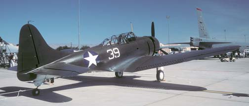 Douglas SBD-5 Dauntless, NX670AM painted as an Army Air Force A-24 at Nellis AFB on April 25, 1997