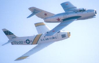 North American F-86F Sabre, N4TF and MiG-15, NX87CN
