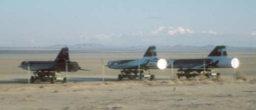 GTD-21 drones on the edge of Rogers Dry Lake at Edwards AFB, October 30, 2000