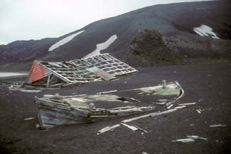 Derelict waterboat at Whalers Bay, Deception Island