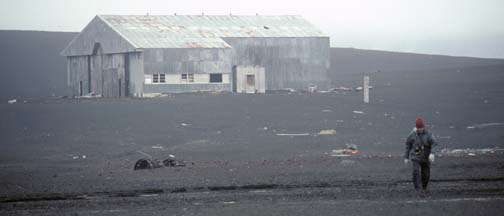 Dad returns from the Hangar at Whalers Bay, Deception Island