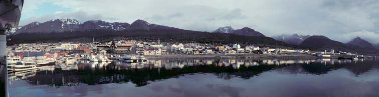 Panoramic view of the harbor at Ushuaia, Argentina