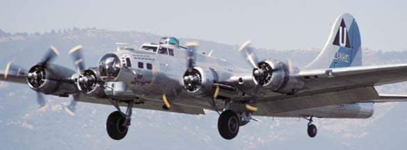 B-17G, N9323Z Sentimental Journey on approach to land at Santa Barbara on May 22, 2001