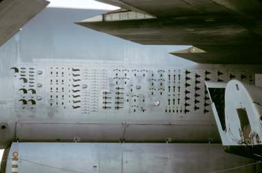 Mission marks on the side of the Boeing NB-52B Stratofortress, 52-0008