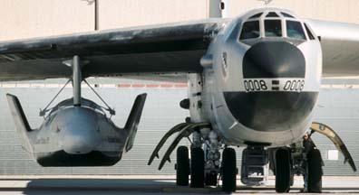 Boeing NB-52B Stratofortress, 52-0008 with X-38 V-131R on the flightline at Edwards AFB