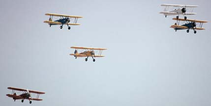 Formation of five Stearman PT-17s and N2Ss