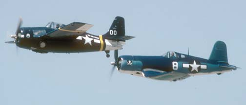 General Motors manufactured FM-2 Wildcat, N5833 and Goodyear manufactured FG-1D Corsair, N11Y