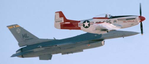 F-16C Fighting Falcon, 88-0459 and P-51D, N151AF Val Halla