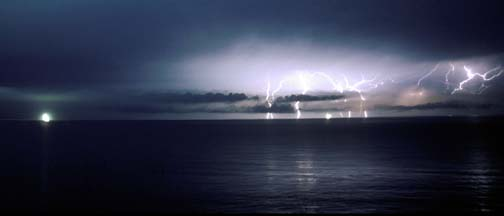 Lightning over the Santa Barbara Channel, November 12, 2003