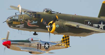 North American B-25J Mitchell, N8195H Heavenly Body and  North American P-51D Mustang, N1451D