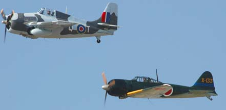 General Motors FM-2 Wildcat, N5833 and Mitsubishi A6M5
