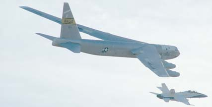 NASA's NB-52B flies over the Dryden Flight Research Center