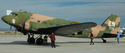 Douglas DC-3C, N2805J restored as AC-47, 43-48770 Spooky, Edwards Air Force Base, October 21, 2005