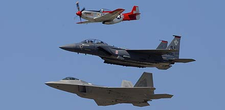 Air Force Heritage Flight: North American P-51D Mustang, N151AF <em>Val Halla</em>, McDonnell-Douglas F-15E-47 Strike Eagle, 89-0485, and Lockheed-Martin F-22A Raptor, 05-4084