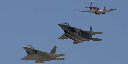 Air Force Heritage Flight: P-51D N151AF Val Halla, F-15E-47 89-0485, and F-22A 05-4086