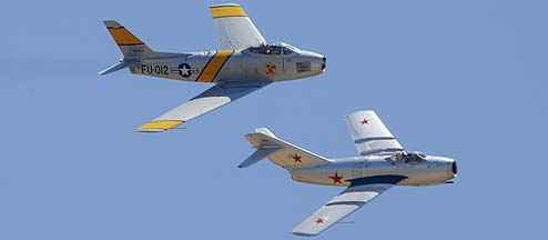 North American F-86F N186AM and Mikoyan-Gurevich MiG-15 NX87CN