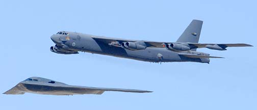 Boeing B-52H Stratofortress 60-0050 and Northrop-Grumman B-2A Block 10 Spirit AV-3 82-1068 Spirit of New York of the 412th Test Wing