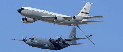Boeing KC-135R Stratotanker 61-0320 and Lockheed C-130H Hercules 89-9101 of the 908th Air Mobility Wing