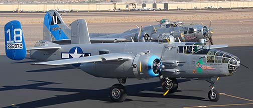 North American B-25J Mitchell Maid in the Shade N125AZ and Boeing B-17G Flying Fortress Sentimental Journey N9323Z, Deer Valley, November 14, 2010