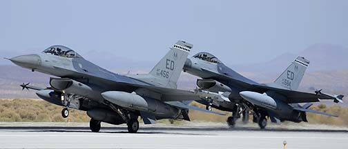General Dynamics F-16C Block 40C Fighting Falcon 88-9456 and F-16A Block 15A Fighting Falcon 80-0584 of the 412th Test Wing, Edwards Air Force Base, September 20, 2012