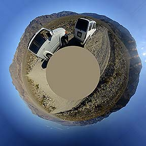 Little planet view of the 360-degree panorama of the Saline Valley, November 21, 2014