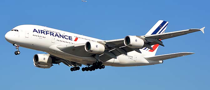 Air France Airbus A380-861 F-HPJI, Los Angeles international Airport, January 19, 2015