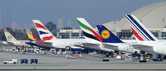 Gathering of giants at the Bradley International Terminal, Los Angeles international Airport, January 19, 2015