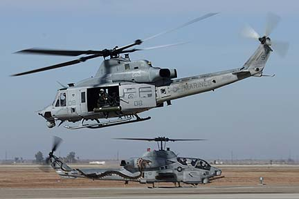 Bell-Boeing UH-1W Huey BuNo 168499 and AH-1W BuNo 165369 of HMLA-369, NAF el Centro, February 19, 2015