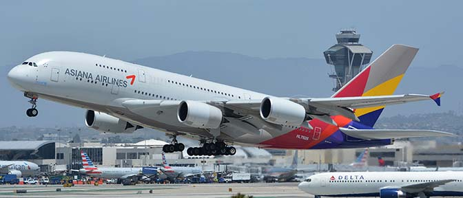 Asiana Airbus A380-800 HL7626, Los Angeles international Airport, May 3, 2016