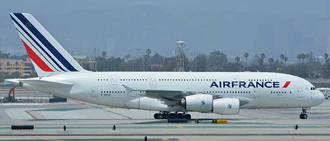 Air France Airbus A380-861 F-HPJF, Los Angeles international Airport, May 3, 2016