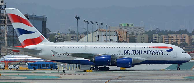 British Airways Airbus A380-841 G-XLEC, Los Angeles international Airport, May 3, 2016
