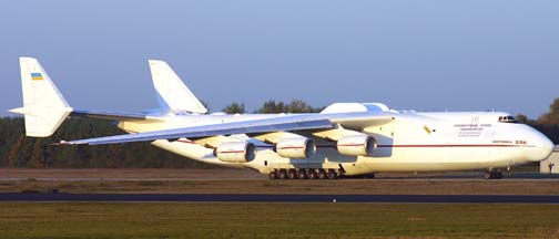 Antonov An-225 Mriya at Eindhoven Airport in the Netherlands on October 28, 2005