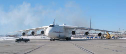Antonov An-225 Mriya at General Mitchell Int'l Airport, Milwaukee, Wisconson on February 15, 2004