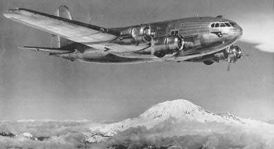 Pan Am Boeing 307 Clipper Flying Cloud, NC19903 over Mt. Ranier