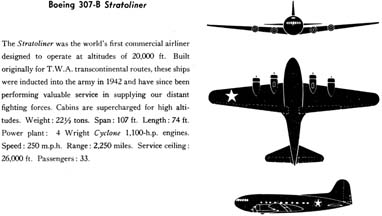 Boeing 307 Stratoliner three-view