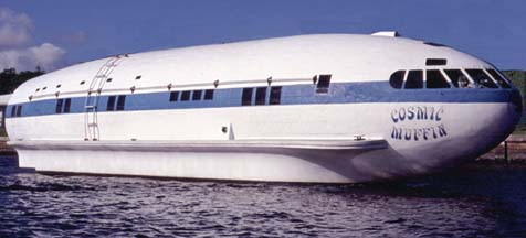 You can charter the Boeing 307 houseboat Cosmic Muffin from Plane Boats, Inc.